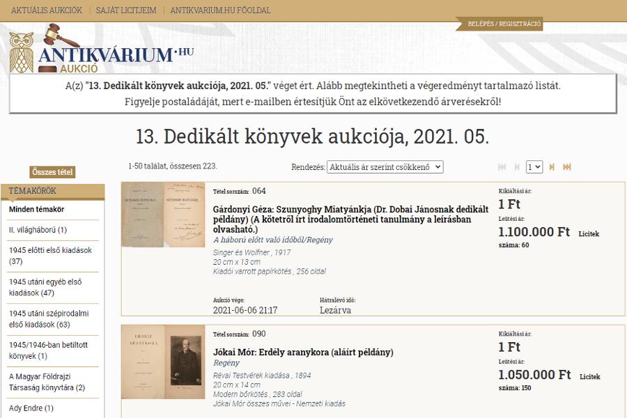 Dedikált könyvek aukciója - antikvárium.hu